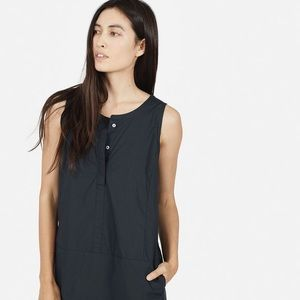 Everlane sleeveless dress, midnight poplin XS